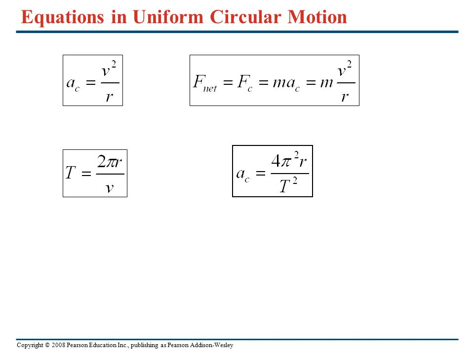 Equations in Uniform Circular Motion