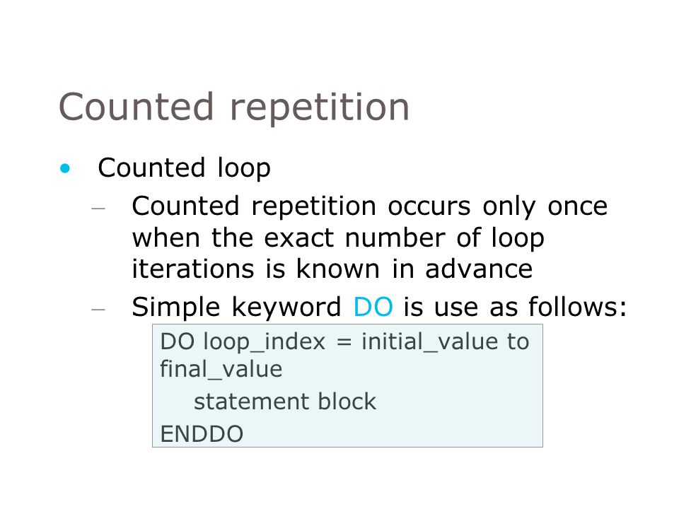 Counted repetition Counted loop