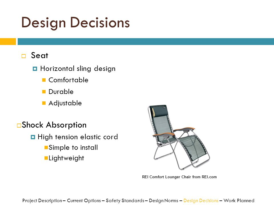Design Decisions Seat Shock Absorption Horizontal sling design