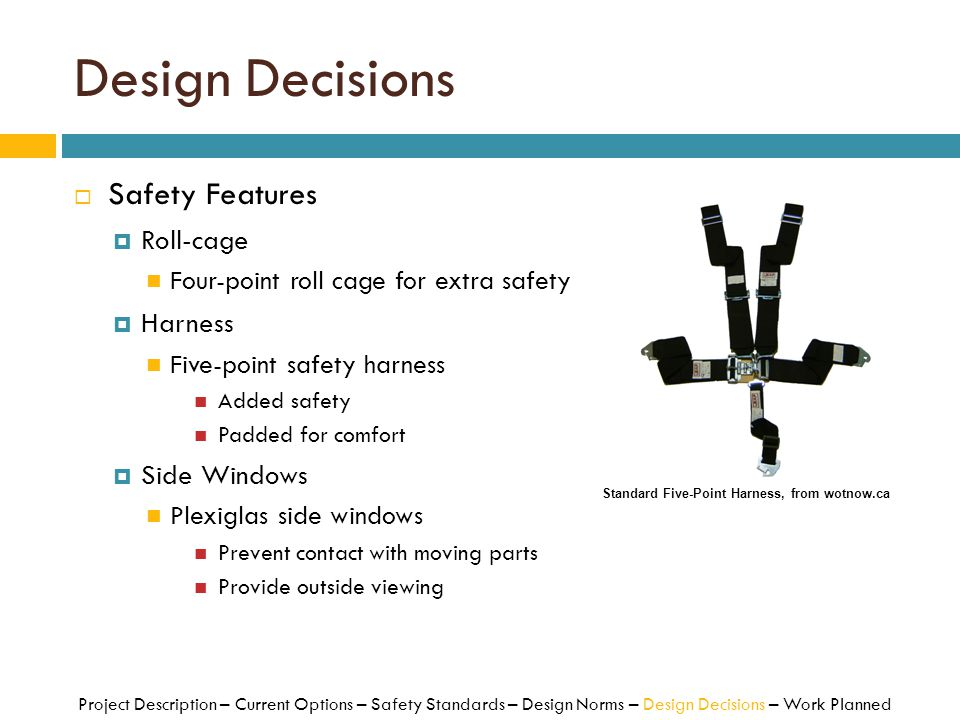 Design Decisions Safety Features Roll-cage Harness Side Windows