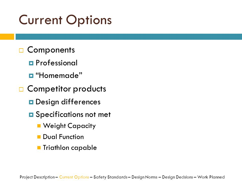 Current Options Components Competitor products Professional Homemade