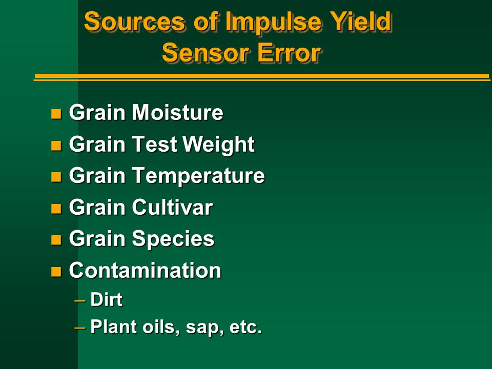 Sources of Impulse Yield Sensor Error