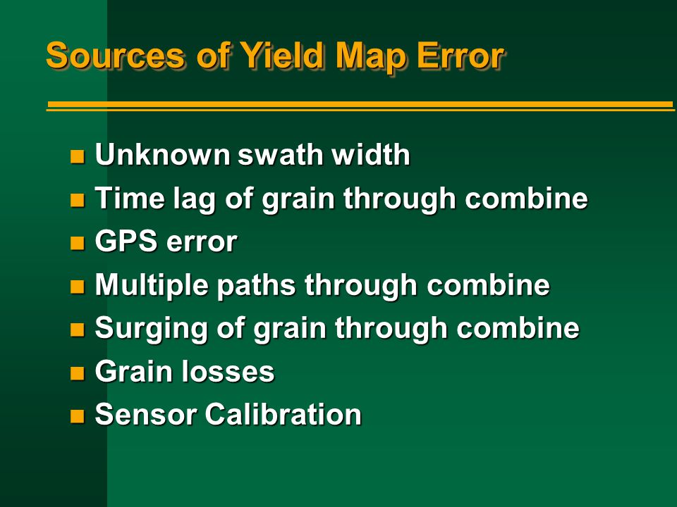 Sources of Yield Map Error