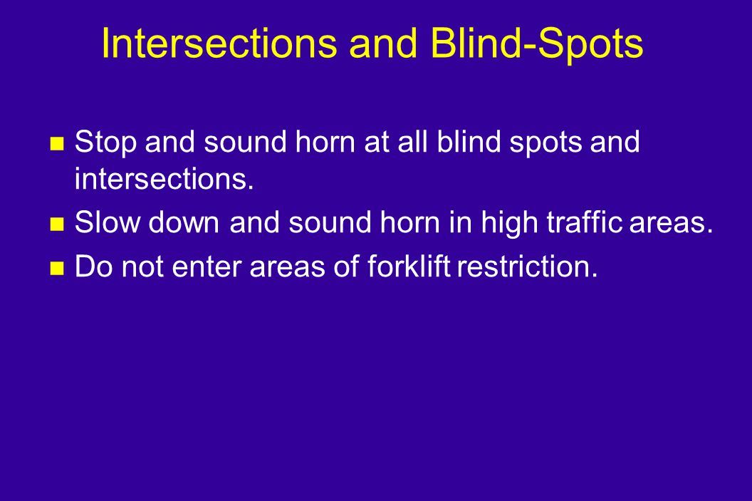 Intersections and Blind-Spots