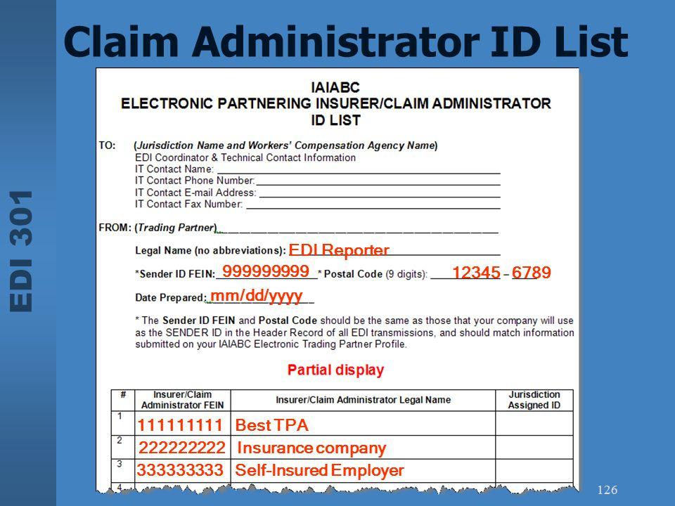 Claim Administrator ID List