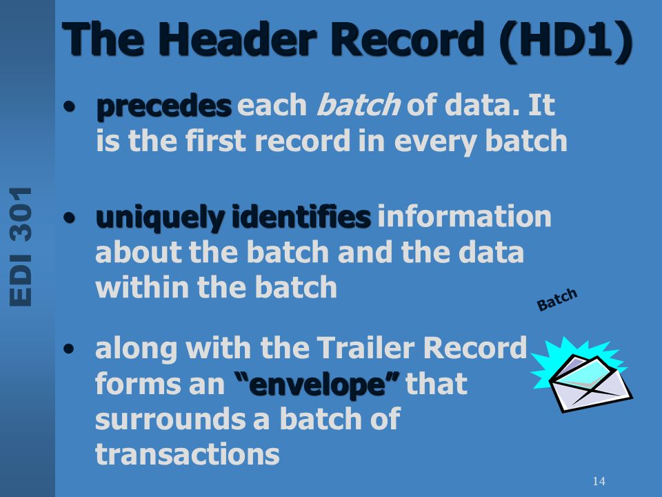 The Header Record (HD1) precedes each batch of data. It is the first record in every batch.