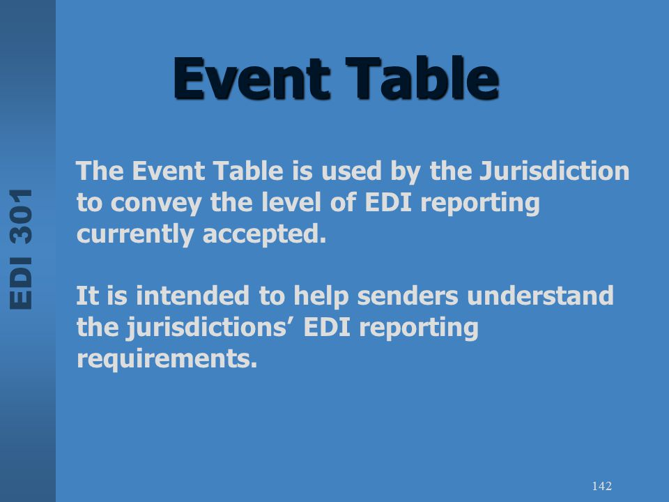 Event Table The Event Table is used by the Jurisdiction to convey the level of EDI reporting currently accepted.