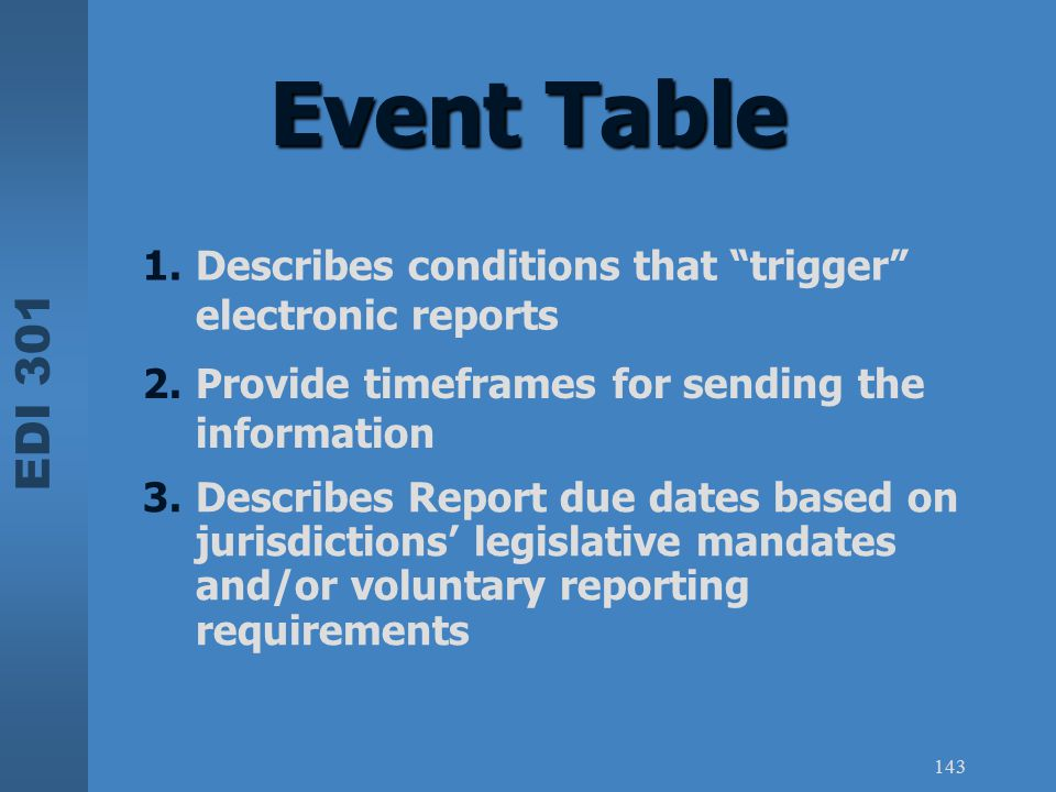 Event Table Describes conditions that trigger electronic reports