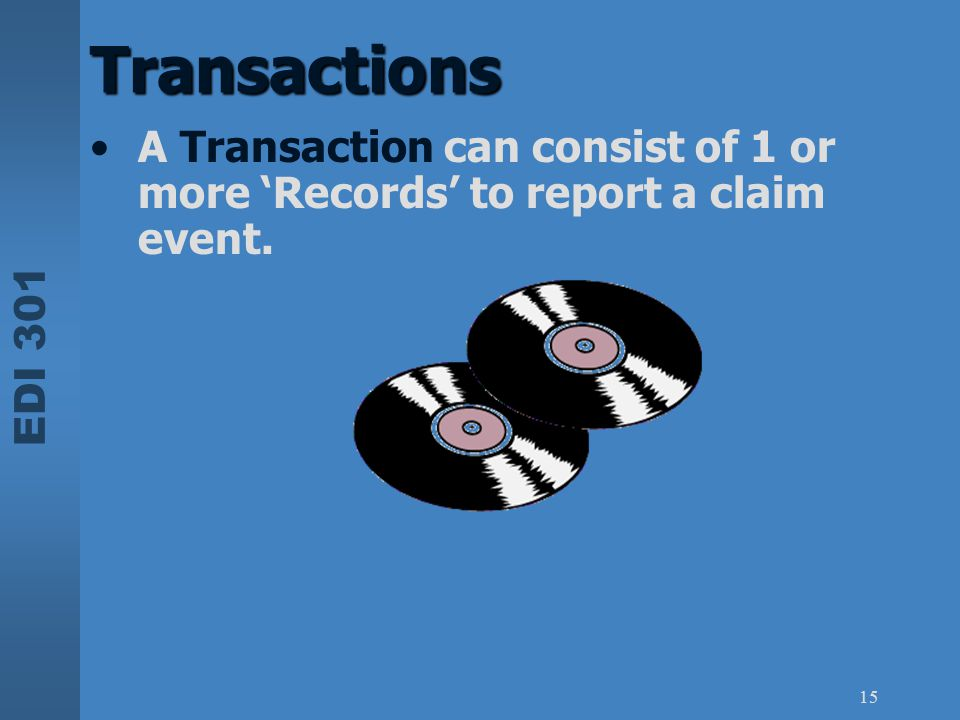 Transactions A Transaction can consist of 1 or more 'Records' to report a claim event.