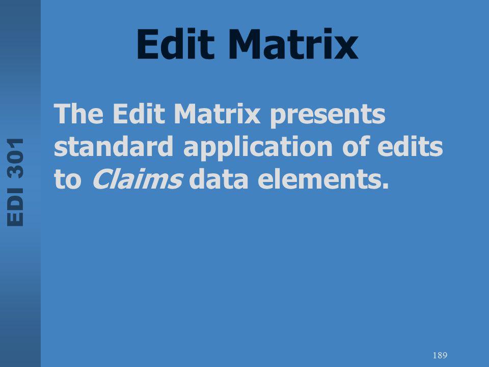 Edit Matrix The Edit Matrix presents standard application of edits to Claims data elements.