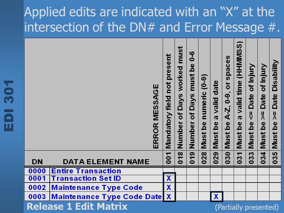 Applied edits are indicated with an X at the intersection of the DN# and Error Message #.
