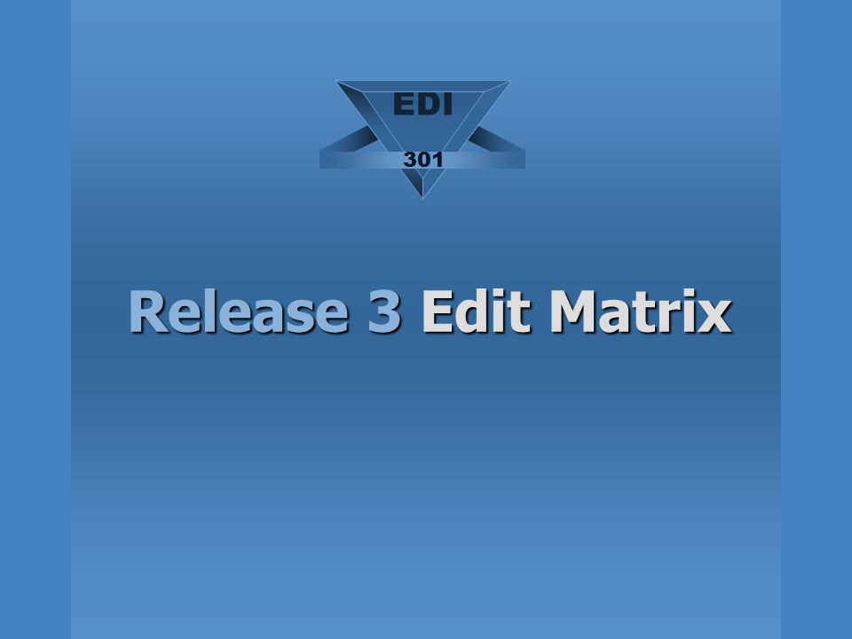 EDI 301 Release 3 Edit Matrix