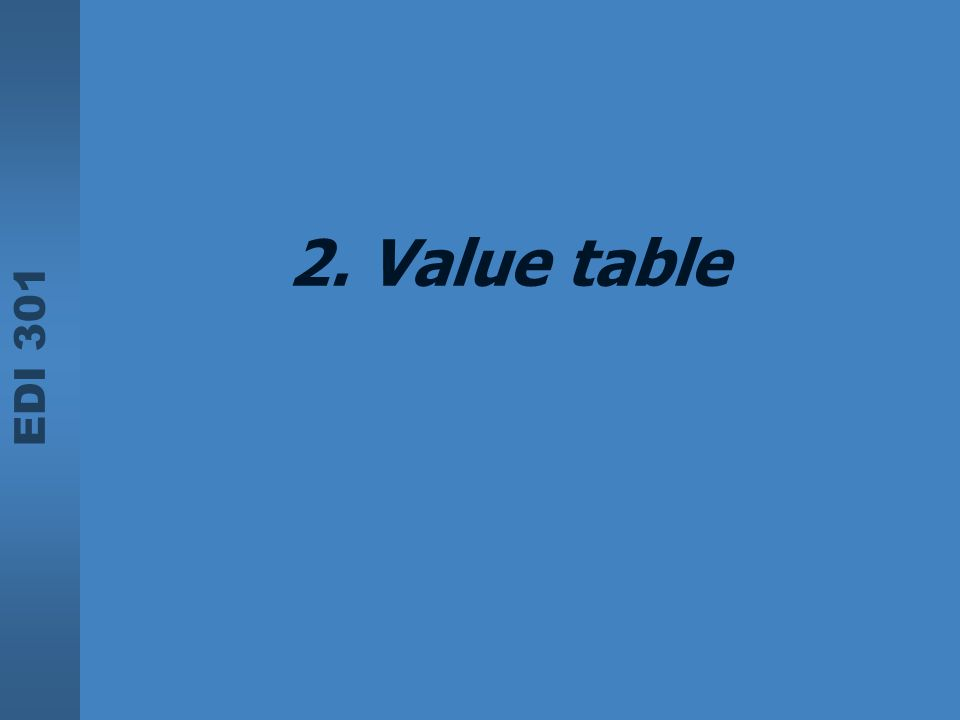 2. Value table