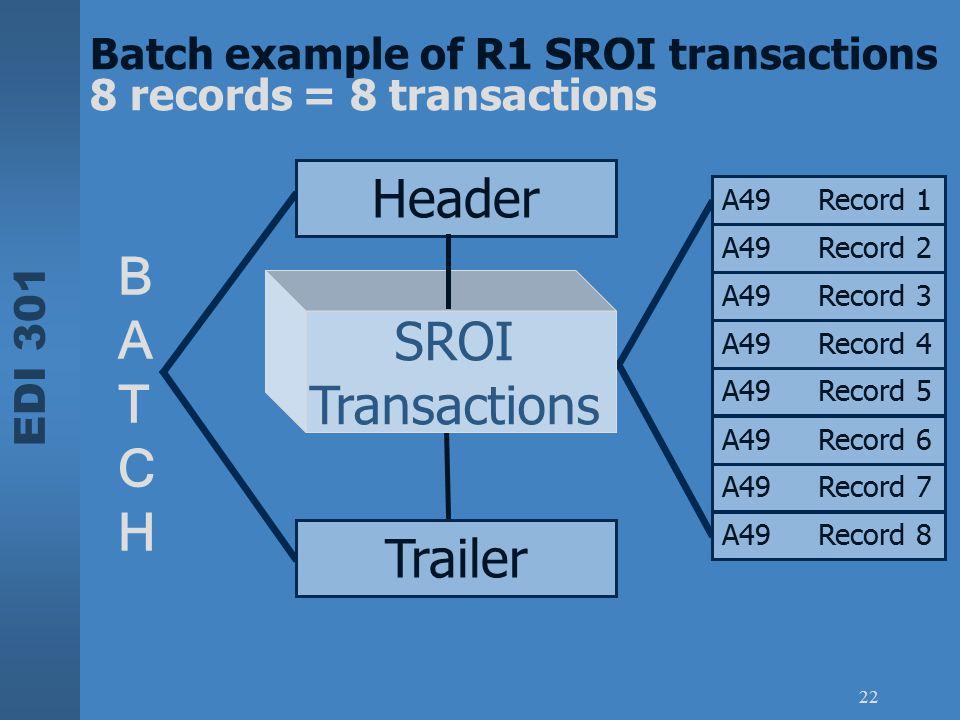 Header B A T SROI C Transactions H Trailer