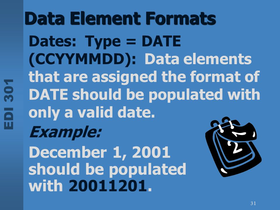Data Element Formats Example: