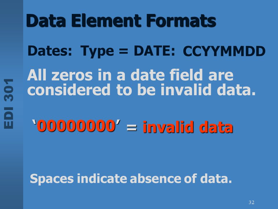 Data Element Formats Dates: Type = DATE: CCYYMMDD. All zeros in a date field are considered to be invalid data.