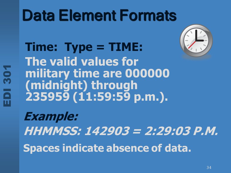 Data Element Formats Time: Type = TIME:
