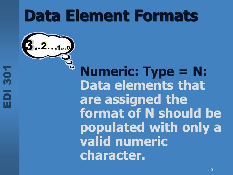 Data Element Formats Numeric: Type = N: Data elements that are assigned the format of N should be populated with only a valid numeric character.
