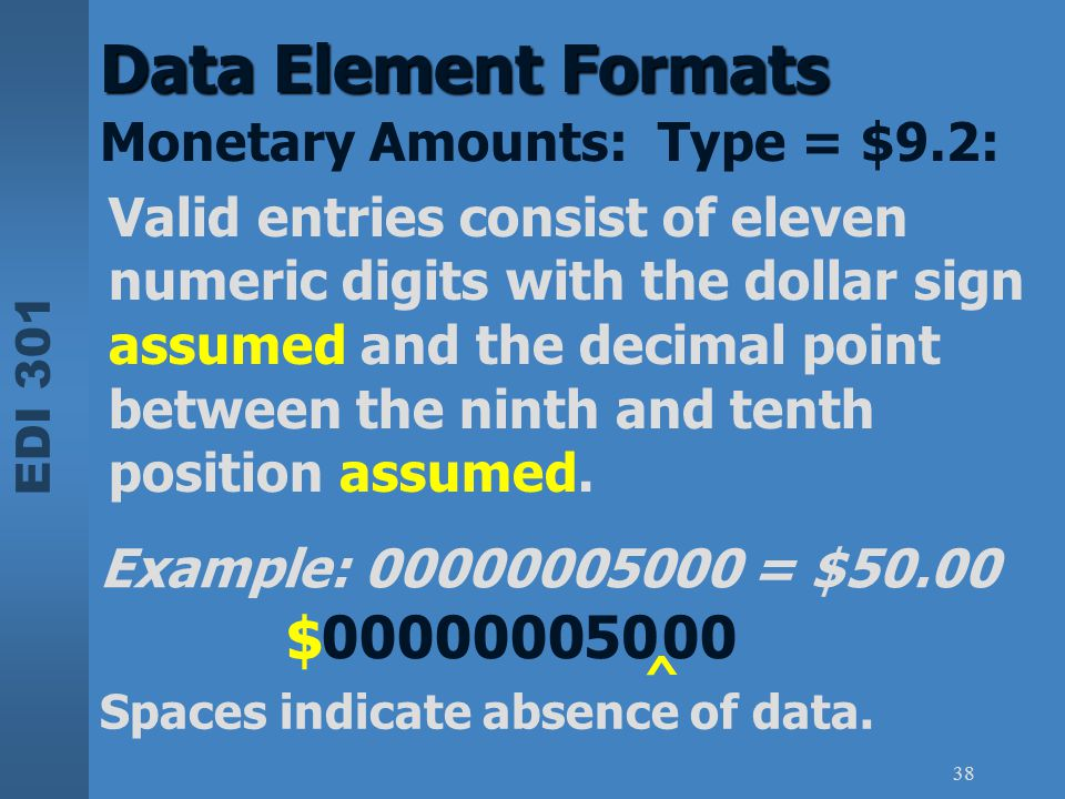 Data Element Formats $ 0000000 50 00 Monetary Amounts: Type = $9.2:
