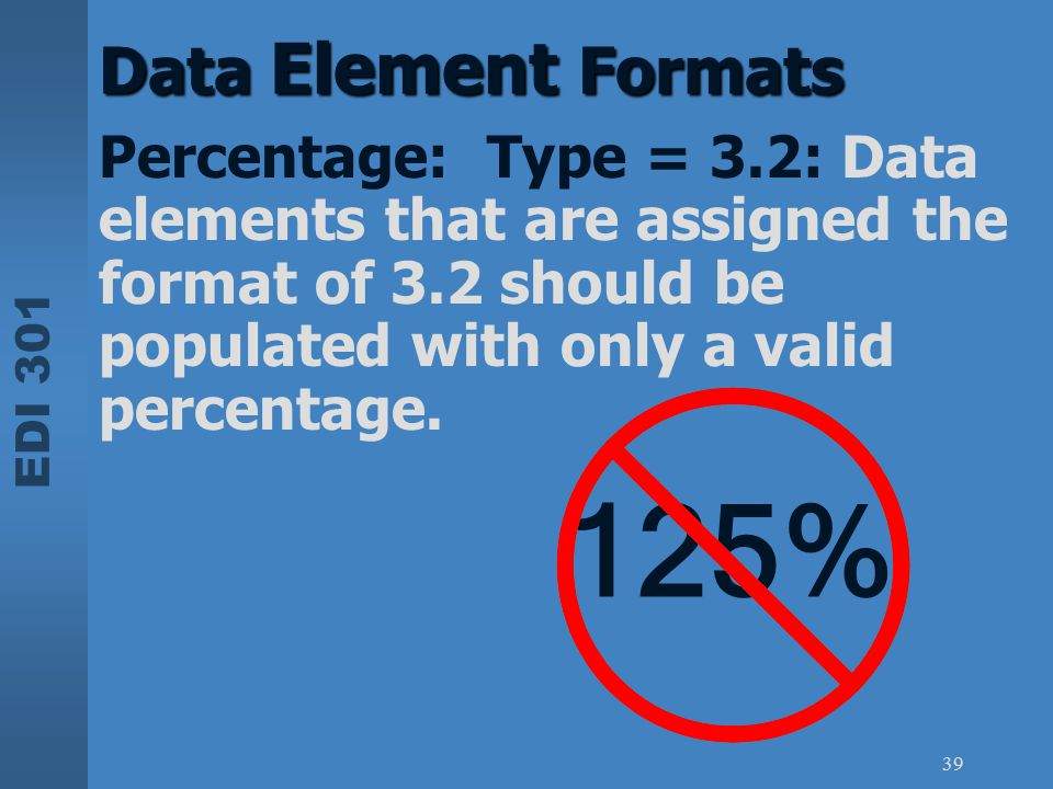 Data Element Formats Percentage: Type = 3.2: Data elements that are assigned the format of 3.2 should be populated with only a valid percentage.