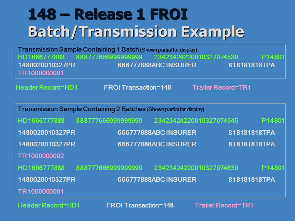 148 – Release 1 FROI Batch/Transmission Example