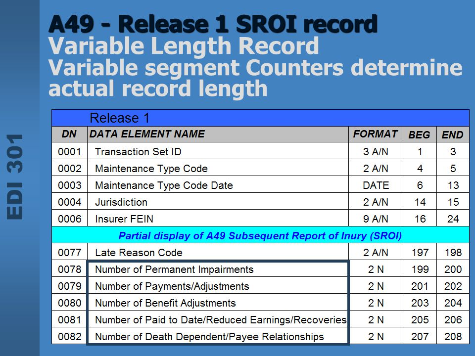 A49 - Release 1 SROI record Variable Length Record Variable segment Counters determine actual record length