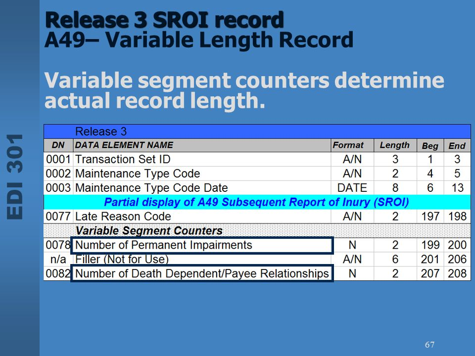 Release 3 SROI record A49– Variable Length Record Variable segment counters determine actual record length.