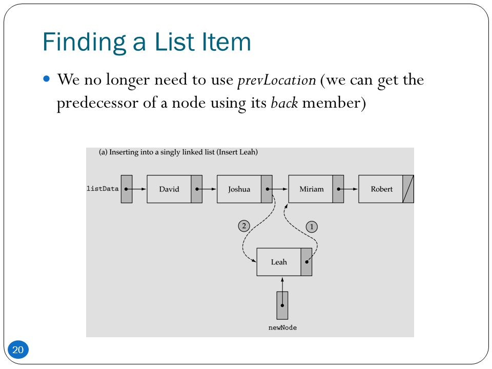 Finding a List Item We no longer need to use prevLocation (we can get the predecessor of a node using its back member)