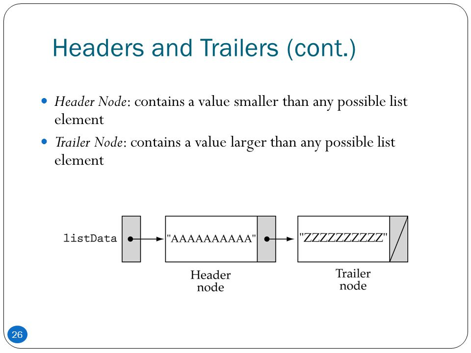 Headers and Trailers (cont.)