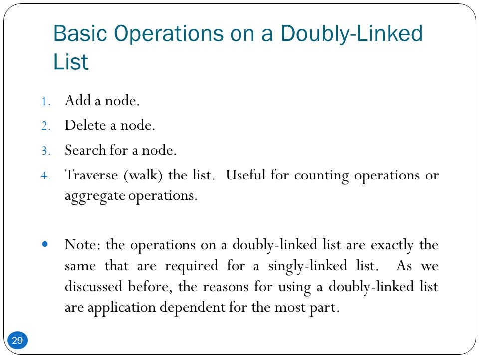 Basic Operations on a Doubly-Linked List