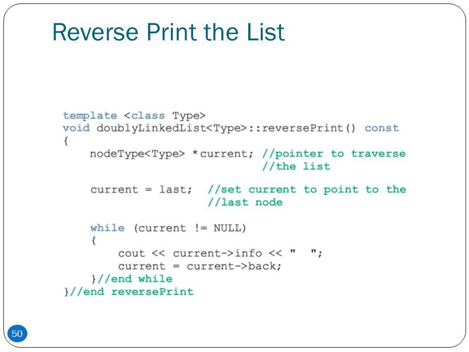 Reverse Print the List