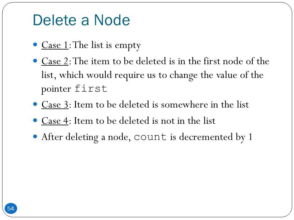 Delete a Node Case 1: The list is empty
