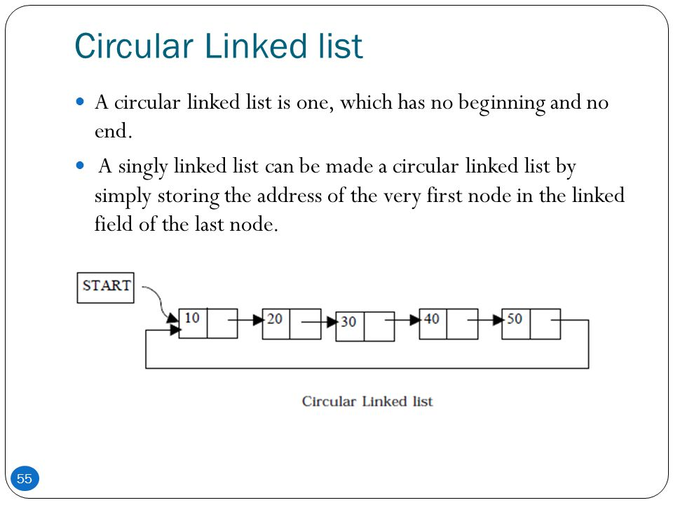 Circular Linked list A circular linked list is one, which has no beginning and no end.