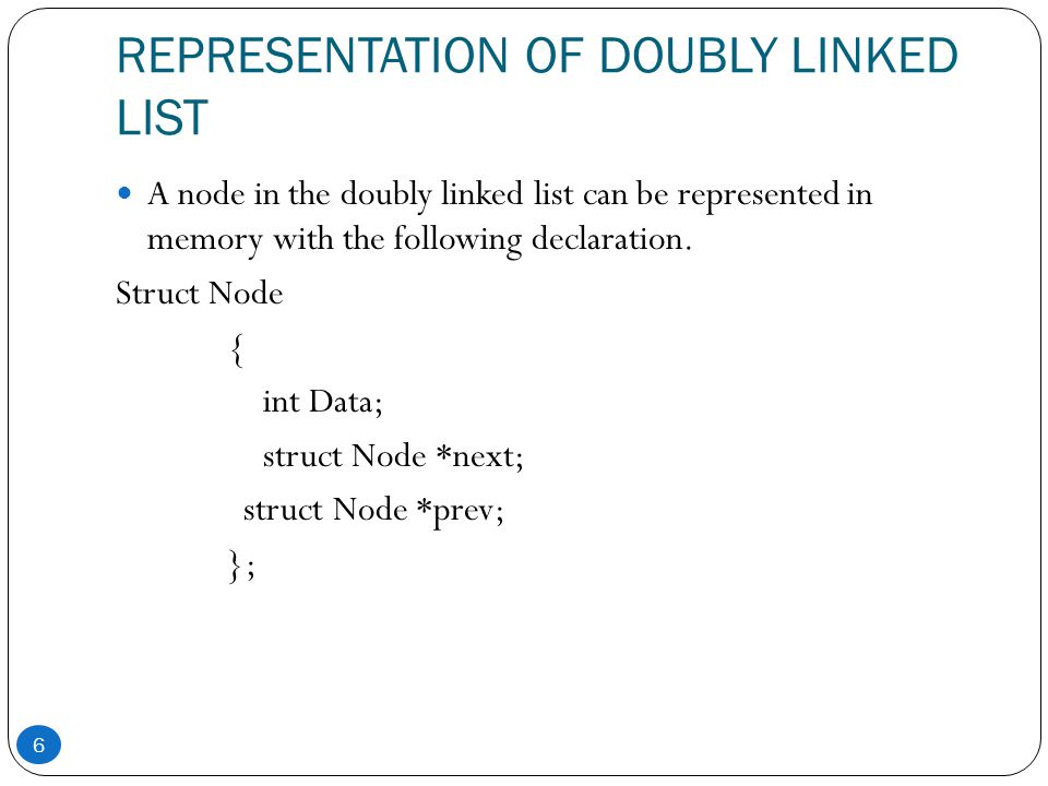 REPRESENTATION OF DOUBLY LINKED LIST