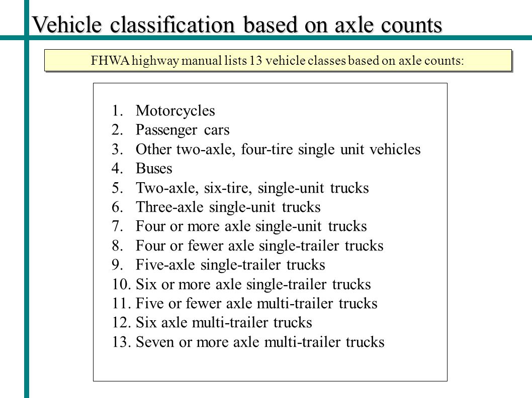FHWA highway manual lists 13 vehicle classes based on axle counts: