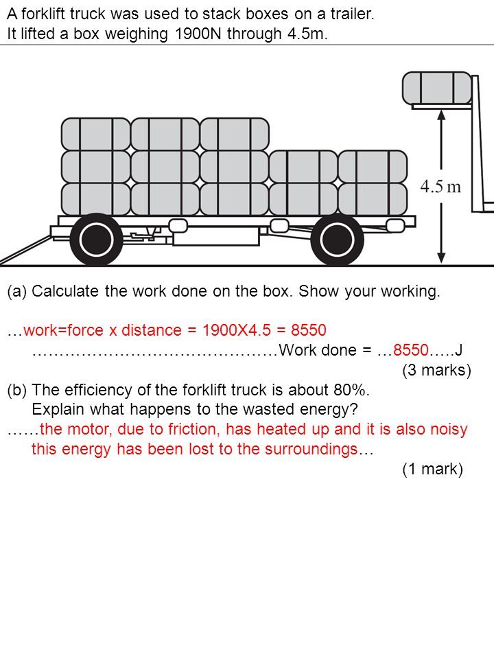A forklift truck was used to stack boxes on a trailer.
