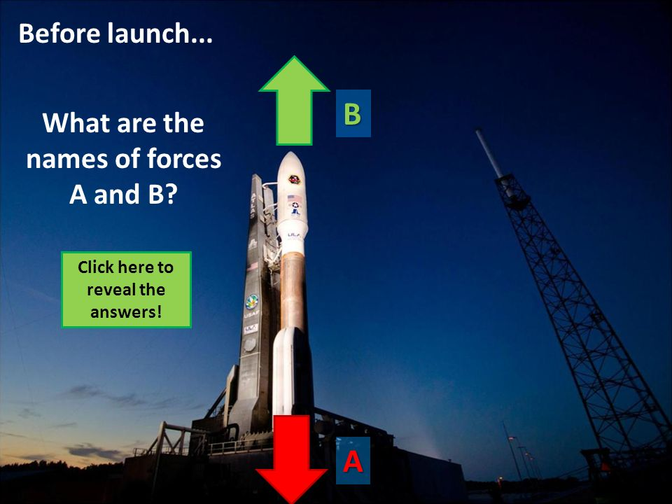 B A Before launch... What are the names of forces A and B