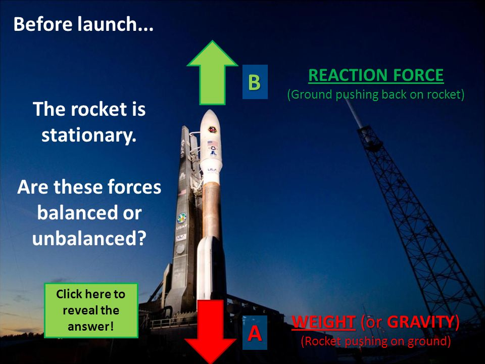 B A Before launch... The rocket is stationary.