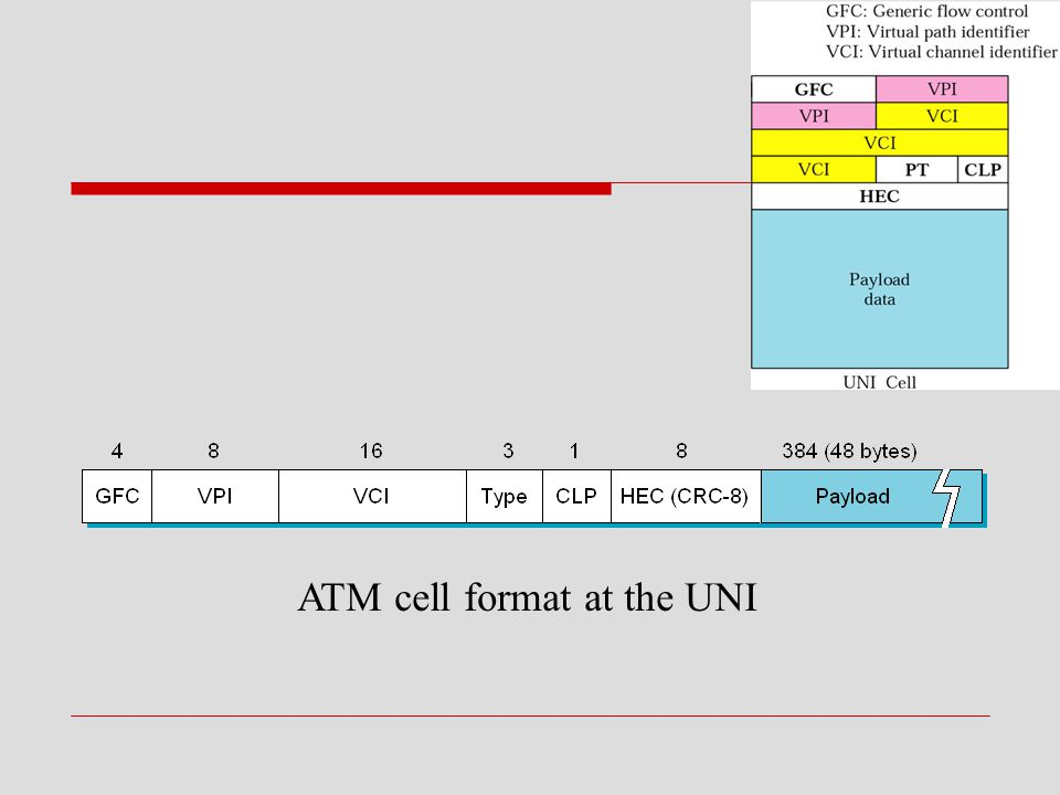 ATM cell format at the UNI