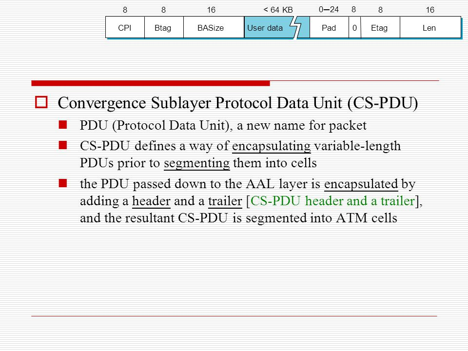 Convergence Sublayer Protocol Data Unit (CS-PDU)