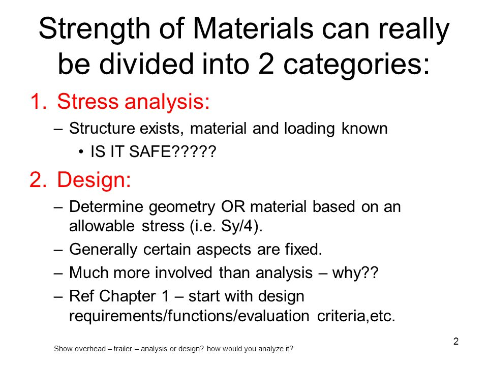 Strength of Materials can really be divided into 2 categories: