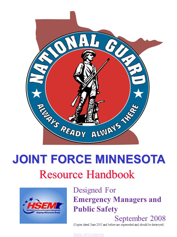 JOINT FORCE MINNESOTA Resource Handbook Designed For