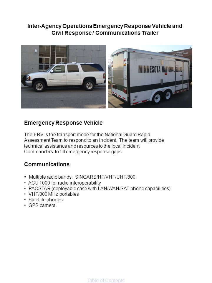 Inter-Agency Operations Emergency Response Vehicle and