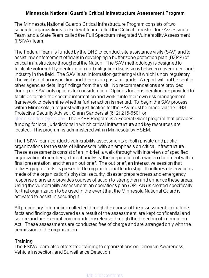 Minnesota National Guard's Critical Infrastructure Assessment Program
