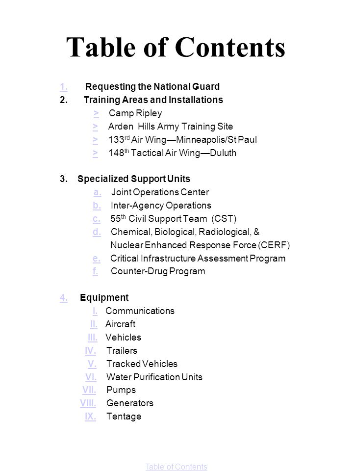 Table of Contents 1. Requesting the National Guard