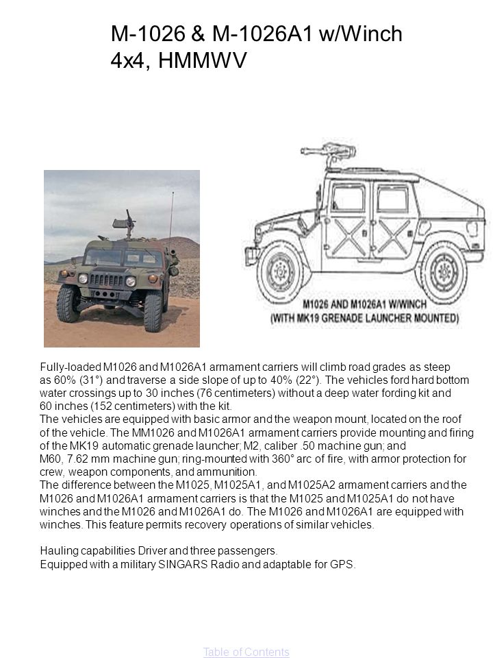 M-1026 & M-1026A1 w/Winch 4x4, HMMWV. Fully-loaded M1026 and M1026A1 armament carriers will climb road grades as steep.