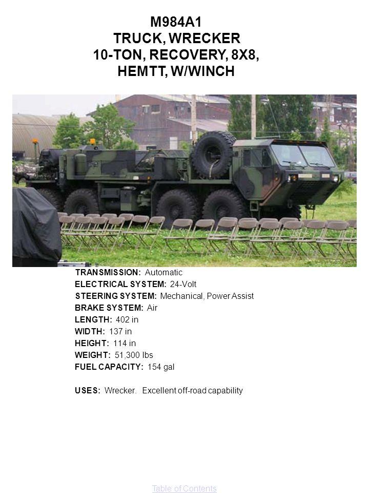 M984A1 TRUCK, WRECKER 10-TON, RECOVERY, 8X8, HEMTT, W/WINCH