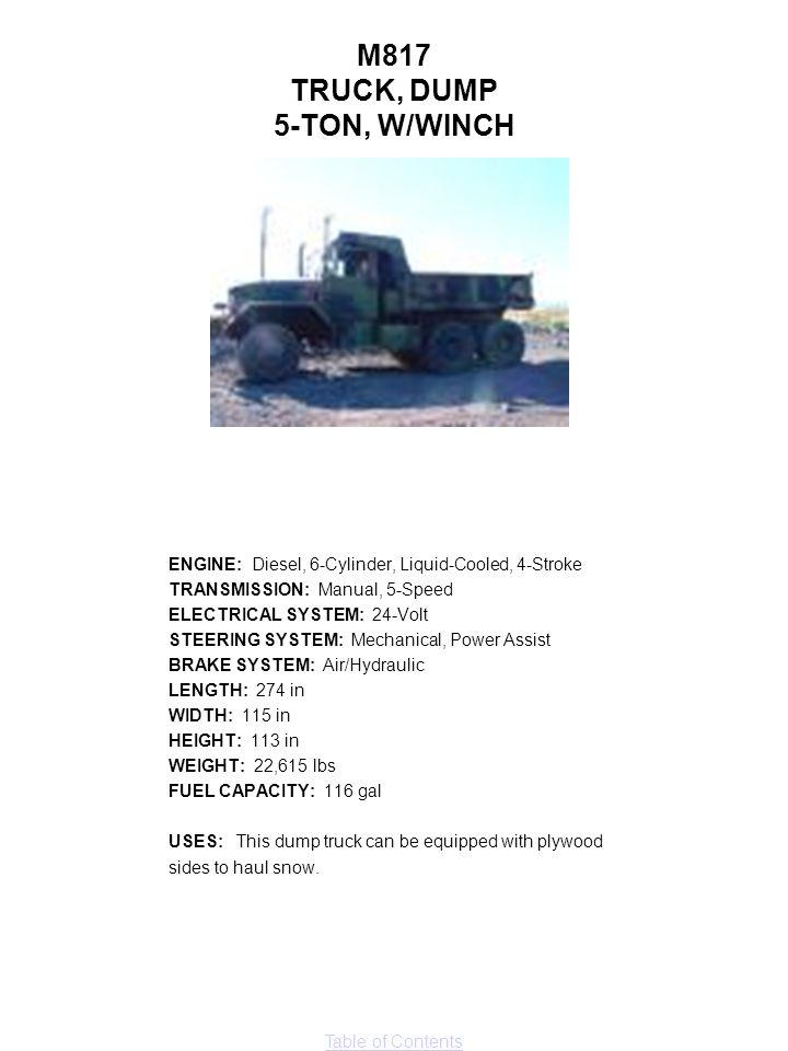 M817 TRUCK, DUMP 5-TON, W/WINCH