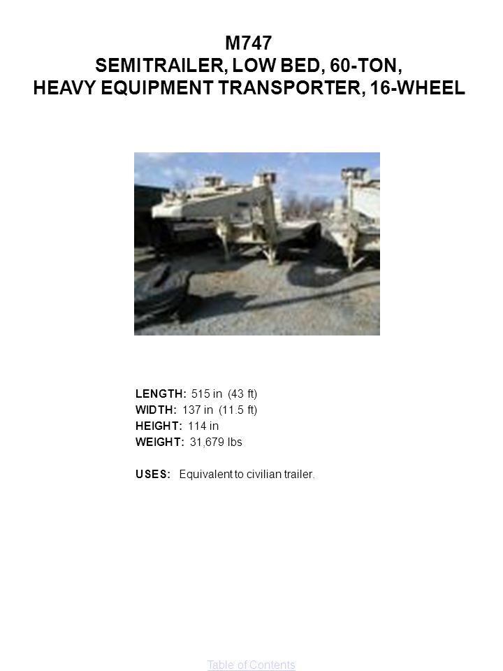 SEMITRAILER, LOW BED, 60-TON, HEAVY EQUIPMENT TRANSPORTER, 16-WHEEL