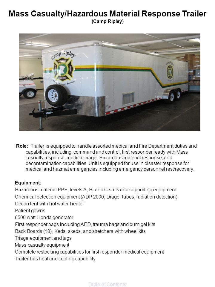 Mass Casualty/Hazardous Material Response Trailer